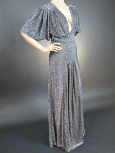 Ossie Clark Liquid Silver Lurex Evening Gown