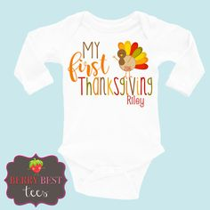 My 1st Thanksgiving Personalized Bodysuit  My by BerryBestTees