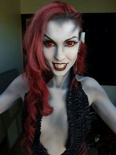 demon makeup. Love how they made the front of her hair black so it looks like her hairline goes back further.