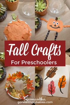 These fall crafts are easy and fun for toddlers and preschoolers to create this fall! #fallcrafts #fallcraftsforkids #kidscrafts #fallactivitiesforkids #fallactivitiesfortoddlers #fallactivitiesforpreschoolers #fallcraftsfortoddlers #fallcraftsforpreschoolers