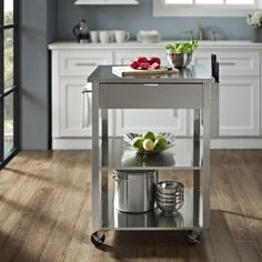 Culinary Prep Kitchen Cart in Stainless Steel - traditional - kitchen islands and kitchen carts - Bentley Marketing, LLC Prep Kitchen, Kitchen Art, Kitchen Dining, Kitchen Decor, Kitchen Ideas, Kitchen Tools, Kitchen Gadgets, Dining Room, Metal Furniture