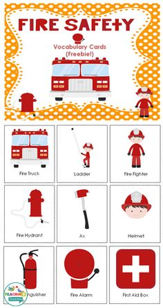Fire Safety Vocabulary Cards Freebie by teachingtalking.com                                                                                                                                                     More