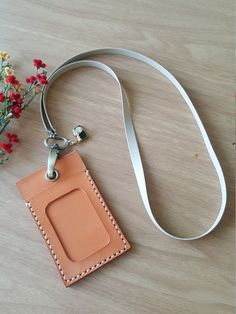 Leather ID Card Holder, ID Card Holder, Leather ID Badge Holder with pu Leather Lanyard by StarlightHandmade on Etsy