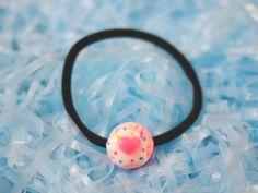 Kawaii Pink Heart Ice Cream Scoop Hair Tie // Pink by VintageLoser