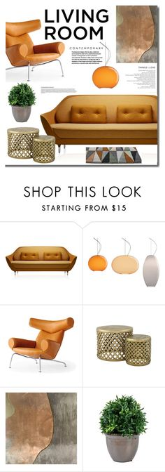 """""""Contemporary Living Room"""" by mslewis6 ❤ liked on Polyvore featuring interior, interiors, interior design, home, home decor, interior decorating, Fritz Hansen, Jayson Home, living room and contemporary"""