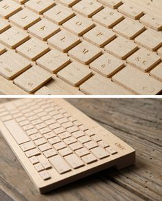 Wooden Wireless Keyboard by French design group Orée, made from a single piece of premium maple and walnut. // #shopping