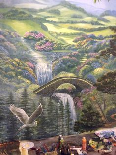 Paradise painting. Inspired by a painting in one of our publications ( for a Kingdom Hall)   Mural by Louise Moorman