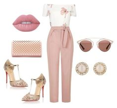 """""""Dubai outfit 1"""" by mandiexoxo1 ❤ liked on Polyvore featuring Topshop, Christian Louboutin, Lime Crime, Christian Dior and Kate Spade"""