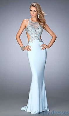 Shop Gigi by La Femme long backless formal gowns at SimplyDresses.Floor length beaded prom dresses with side cut outs for military ball or pageants.