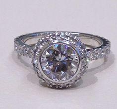 Round Brilliant Cut Bezel Set Halo Engagement Ring with Diamonds on the Band Custom Made Engagement Rings, Halo Engagement, Custom Jewelry Design, Fine Jewelry, Diamonds, Jewels, Band, Unique, Sash