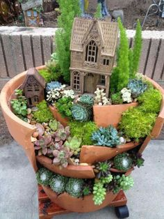 Terracotta Fairy Garden; don't throw out your broken pots; create some fun