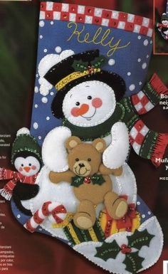 This beautiful Bucilla stocking kit will be completed for you replacing all plastic beads with Czech Crystal AB beads and will be Merry Stockings, Cute Christmas Stockings, Christmas Stocking Pattern, Felt Stocking, Christmas Sewing, Christmas Fabric, Christmas Wood, Christmas Snowman, Christmas Wreaths