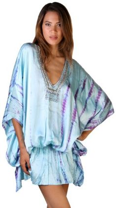 100% Silk Satin tie died glamorous Caftan has sparkly emellishments and can be worn as a short dress or tunic with leggings.