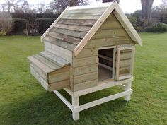 sweet little chicken coop..looks like you could use recycled boards and white wash them, super affordable adorable look!