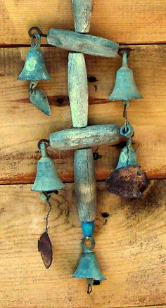 Primitive Wind Chime Wood Bells Fish & More Very by Rusticcreek, $16.00