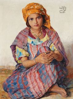 A beautiful 1941 painting by Russian-French painter Alexandre Roubtzoff of a Tunisian Bedouin girl called Shādhiliyya. The painting was made in Tunis and dated 1360 H. by the artist. Arabian Art, North Africa, Rock Art, Oeuvre D'art, Female Art, Art History, Art For Kids, Canvas, Drawings