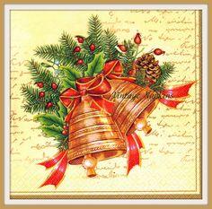 VENTA *** dos servilletas de papel para DECOUPAGE - Navidad campanas oro