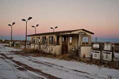 Abandoned truck stop, Wyoming-Nebraska state line at Pine Bluffs.
