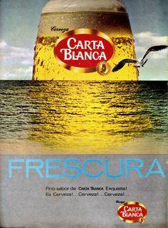 Publicidad Cerveza Carta Blanca; México, años 70s.