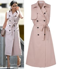 Mad About Meghan: The Duke and Duchess of Sussex Open the Nelson Mandela Centenary Exhibition Sleeveless Trench Coat, Trench Coat Dress, Royal Fashion, Fashion Looks, Classy Outfits, Casual Outfits, Fashion Clipart, Hijab Look, Elegant Outfit