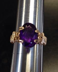 """Picture perfect amethyst purple color, set in a wire prong ring! Master crafted by Michael """"master wire artist"""". Own one of his one of a kind pieces."""
