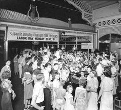 Louisville Motors Co. picnic at Fontaine Ferry Park inside pavilion, Louisville, Kentucky, 1936.