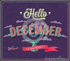 Hello december typographic design.