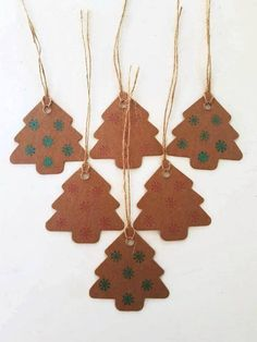 Christmas gift tags Christmas tree tags handstamped set of