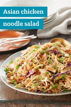 Asian Chicken Noodle Salad – This fabulous-looking recipe is easy to make, thanks to a coleslaw blend, a ramen noodle soup mix and a spoonful of peanut butter. Ready in just 10 minutes.