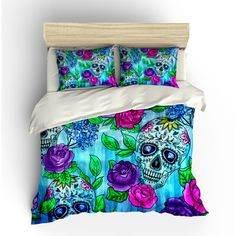 Skull Bedding Sugar Skulls Duvet Cover Comforter Set Twin Queen King... (€105) ❤ liked on Polyvore featuring home, bed & bath, bedding, duvet covers, grey, home & living, queen bedding, king bedding, king duvet and gray duvet
