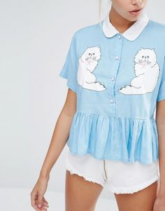Image 3 of Lazy Oaf Cropped Shirt With Peplum Hem And Kitty Friends Print