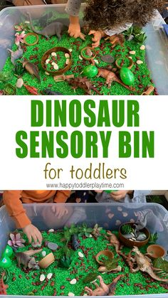 Dinosaur Sensory Bin for Toddlers - HAPPY TODDLER PLAYTIME Do you have a budding paleontologist at home? Create this engaging dinosaur sensory bin for toddlers and preschoolers and watch their imagination ignite! Dinosaur Activities, Sensory Activities, Infant Activities, Activities For Kids, Sensory Play, Dinosaur Crafts For Preschoolers, Dinosaur Toys For Toddlers, Learning Activities, Preschool Dinosaur