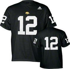 Iowa Hawkeyes Black adidas #12 Football Jersey T-Shirt