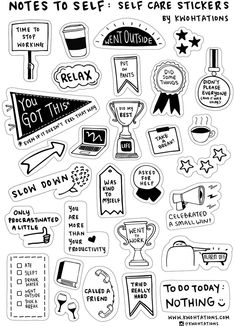 Self Care Sticker Sheet - Sticker sheets - Self care sticker sheet from Kwohtations - Printable Planner Stickers, Journal Stickers, Scrapbook Stickers, Printables, Tumblr Stickers, Cute Stickers, Black And White Stickers, Homemade Stickers, Recipe Stickers