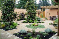 Courtyard garden divided with pathways.