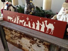 Wooden Nativity Sign Art Wall Decor Jesus Manger Christmas Holiday Decoration…