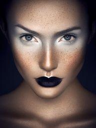 freckles, highlight, black lips