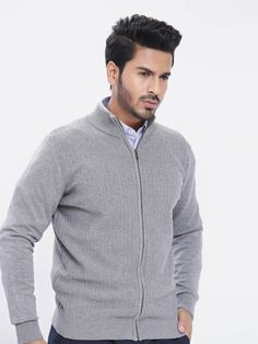 Grey Zig-Zag Textured Zipper - Brumano