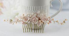 Blush rosa nupcial peine, peine Floral vid pelo accesorio de la boda, marfil rosa oro boda peine, peine Pearl boda rosa.