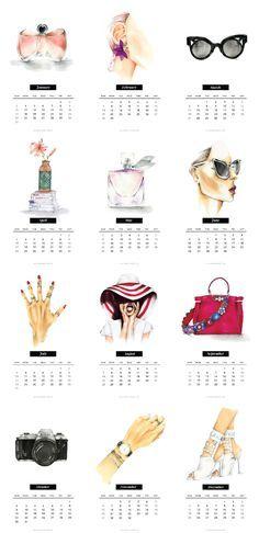 Free Printable Fashion Calendar 2016 - The Key ItemThe Key Item