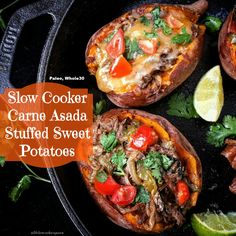 Carne Asada isn't just for tacos. If you're looking for a different, healthy option try stuffing them into sweet potatoes.