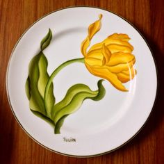 """Ser de pratos """" Botânica """" pintados a mão"""