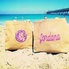 Beachin' in Florida #beach #sand #ocean #burlap #burlapbag #tote #beachbag #monogram #personalized #greatgift #summer #spring #waves #style #fashion #accessory #vacation #spa #jamaica #fun #sun #life #boardwalk #goodmorningamerica #gma #hot