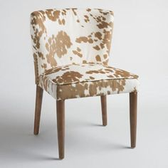 This curved, petite side chair make a modern statement with tan-hued cow print upholstery, nail head details, self piping and dark brown round legs. Dining Arm Chair, Upholstered Dining Chairs, Dining Room Chairs, Dining Room Furniture, Dining Rooms, Rattan Chairs, Furniture Update, Desk Chairs, Dinning Table