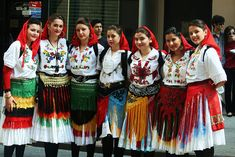 Wonderful Albanian costumes worn by  Albanian girls
