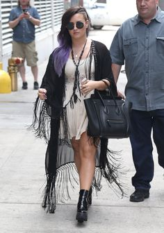 Demi Lovato Creme Dress, Black Shawl And Purple Hair: 'I Avoid Triggering Situations' - http://oceanup.com/2014/06/24/demi-lovato-creme-dress-black-shawl-and-purple-hair-i-avoid-triggering-situations/