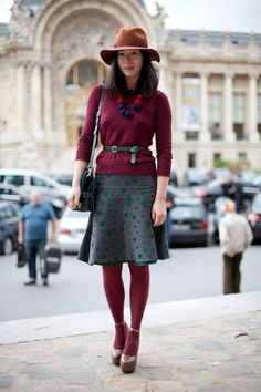 Outfit of the Day: This eclectic look is a nod to the 70 via Harpers Bazaar http://www.facebook.com/WeLoveWool