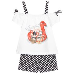 White Tops, Black And White, Two Girls, Kids Online, Black Shorts, Outfit Sets, Shoulder Straps, Pool Fun, Bow