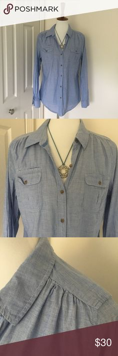 🆕Lightweight chambray button down from Express Super cute and comfy! Buttoned pockets on the chest. Rouching details on the shoulders and back. Necklace also for sale in my closet. NO TRADES! Express Tops Button Down Shirts