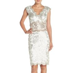 Tadashi Shoji Two-Tone Sequin Lace Sheath Dress ($368) ❤ liked on Polyvore featuring dresses, white sequin cocktail dress, lace sheath dress, flower print dress, floral dress and white pencil dress